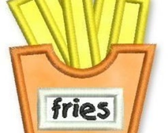 FRENCH FRIES Applique 4x4 5x7 Machine Embroidery Design  INSTANT Download