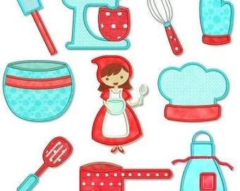 KITCHEN CUTIE Applique SET 4x4 5x7 Machine Embroidery Design apron mixer cooking  Instant