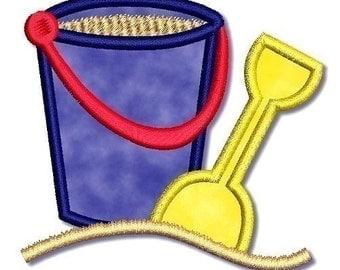 Applique Sand BUCKET with Shovel pail  4x4  5x7 6x10 Machine Embroidery Design BEACH  INSTANT Download