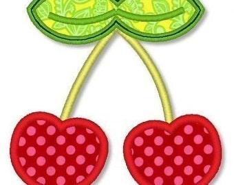 CHERRIES Applique 4x4 5x7 Machine Embroidery Design cherry  INSTANT Download