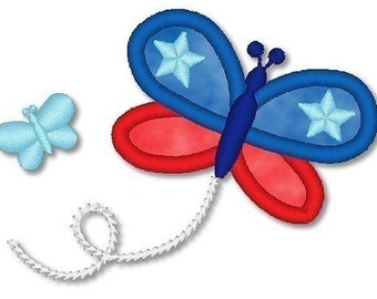 Applique PATRIOTIC BUTTERFLY  4x4 5x7  machine Embroidery Design red white blue