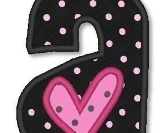 Applique Hearts Font 4x4 Machine Embroidery Designs