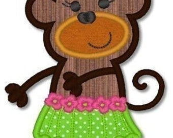HULA Girl MONKEY Applique 4x4 5x7 Machine Embroidery Design dancing  INSTANT Download