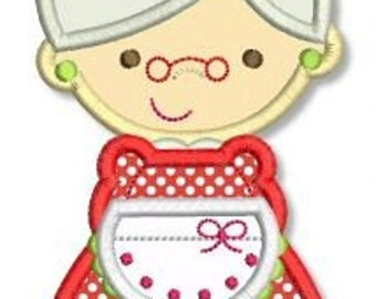 MRS. CLAUS Applique 4x4 5x7 6x10 Machine Embroidery Design christmas holiday santa  INSTANT Download