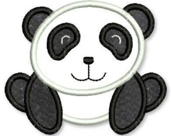 PANDA BEAR  Applique 4x4 5x7 6x10  Machine Embroidery Design  INSTANT Download