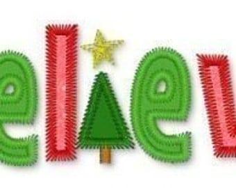 BELIEVE Zig Zag CHRISTMAS Tree Applique 5x7 Machine Embroidery design  INSTANT  Download