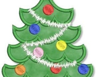CHRISTMAS TREE Applique 4x4 5x7 6x10 Machine Embroidery design  INSTANT Download