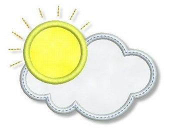 SUN with CLOUDS Applique 4x4 5x7 Machine Embroidery Design  INSTANT Download