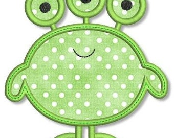 CUTE MONSTER 4 Applique 4x4 5x7 Machine Embroidery Design boy alien  INSTANT Download