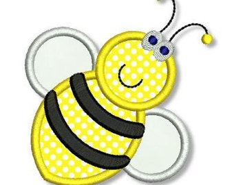 BUMBLE BEE Applique 4x4 5x7 Machine Embroidery Design happy bumblebee  INSTANT Download