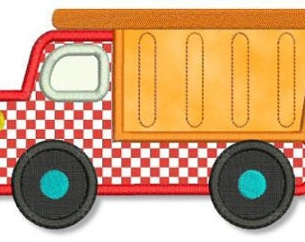 DUMP TRUCK Applique 4x4 5x7 Machine Embroidery Design boy  INSTANT Download