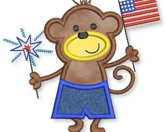 PATRIOTIC Monkey BOY Applique 4x4 5x7 6x10 American flag 4th July sparklers  INSTANT Download