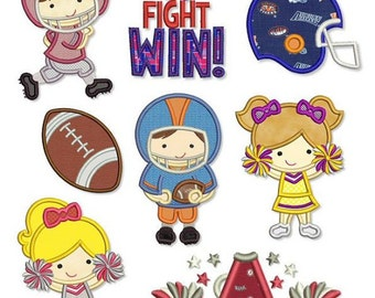 TEAM Spirit Applique SET 4x4 5x7 6x10 Machine Embroidery Design football cheerleader helmet player pom  INSTANT Download