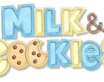 MILK and COOKIES  Wording  Fill and Applique Machine Embroidery Design  INSTANT Download