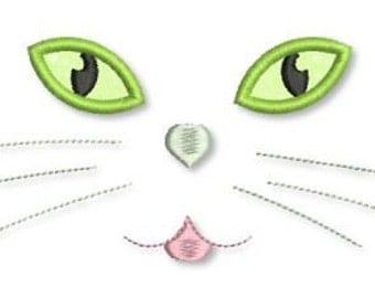 CAT Face with Applique EYES 4x4 5x7 6x10 Machine Embroidery Design Halloween  INSTANT Download