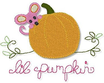 Peek-A-Boo PUMPKIN MOUSE filled  4x4 Machine Embroidery design Halloween Baby  INSTANT Download