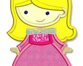 Cutie Princess as Sleepy Pink Beauty Applique 4x4 5x7 6x10 Machine Embroidery Design  INSTANT Download