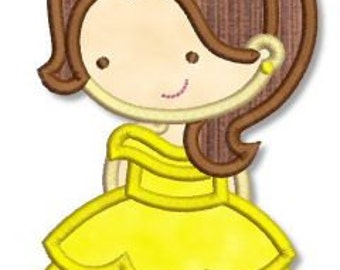 Cute Princess as Belle the Beauty 4x4 5x7 6x10 Machine Embroidery Design  INSTANT Download
