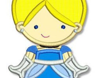 Cute PRINCESS as CINDERELLA Applique 4x4 5x7 6x10 Machine Embroidery Design  INSTANT Download