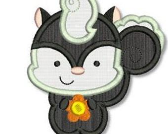 SO STINKIN' CUTE Skunk Applique 4x4 5x7 6x10 Machine Embroidery Design boy girl Instant Download