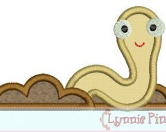 EARTHWORM Applique 4x4 5x7  Machine Embroidery Design dirt boy worm lynnie pinnie  INSTANT Download