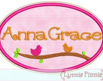 OVAL Birds Applique Monogram Name FRAME 4x4 5x7 6x10 7x11  Machine Embroidery Design  INSTANT Download