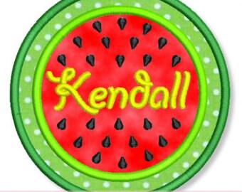 WATERMELON Circle FRAME Applique  4x4 5x7 6x10 7x11  Machine Embroidery Design  summer picnic personalize INSTANT Download