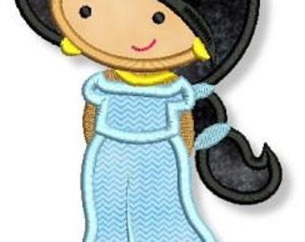 Cutie Middle East Princess Applique 4x4 5x7 6x10 Machine Embroidery Design  INSTANT Download