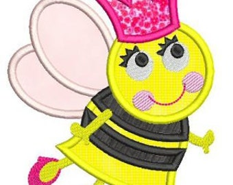 QUEEN BEE Applique 4x4 5x7 6x10 Machine Embroidery Design girl princess  INSTANT Download