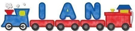 Applique TRAIN Font 4x4  Machine Embroidery Design  BOY baby  INSTANT Download