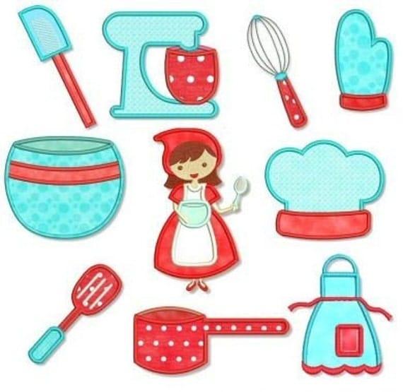 KITCHEN CUTIE Applique SET 4x4 5x7 Machine Embroidery Design Apron Mixer  Cooking Instant Part 75