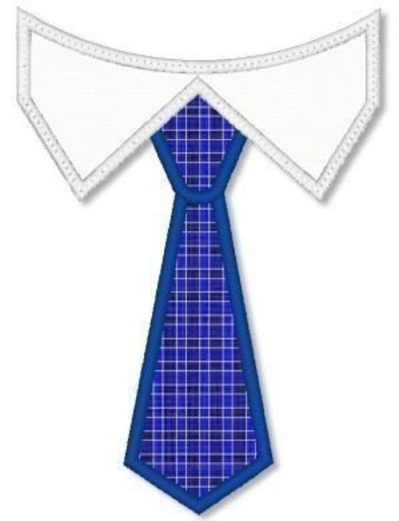 TIE with Shirt Collar Applique 4x4 5x7 6x10 Machine Embroidery Design   INSTANT Download