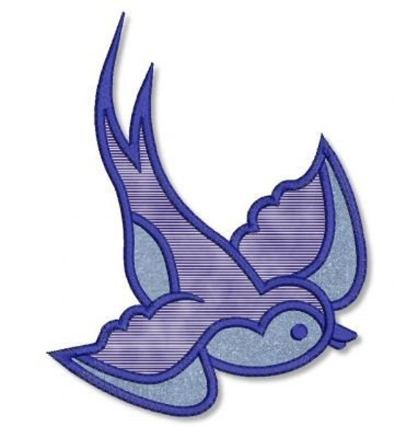 SPARROW Applique 4x4 5x7 6x10 Machine Embroidery Design blue bird  INSTANT Download