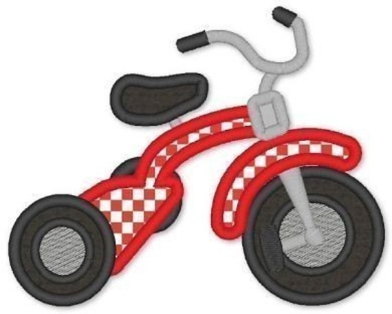 TRICYCLE Applique 4x4 5x7 6x10  Machine Embroidery Design boy girl trike bike  INSTANT Download