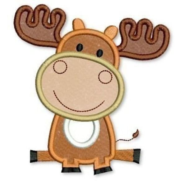 Baby MOOSE Applique 4x4 5x7 6x10  Machine Embroidery Design  INSTANT Download