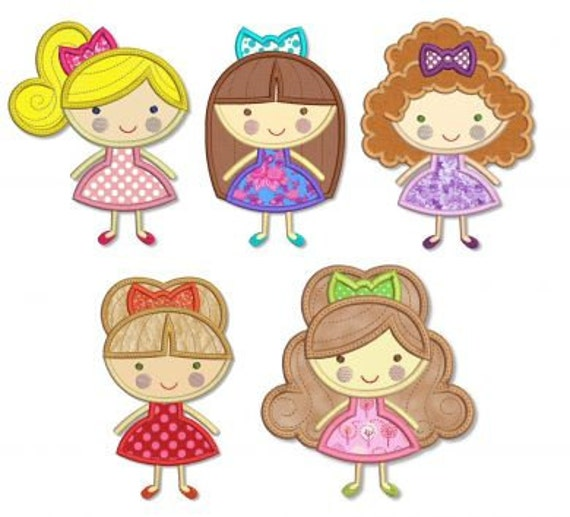 GIRLY Girls Applique SET 4x4 5x7 Machine Embroidery Design  INSTANT Download