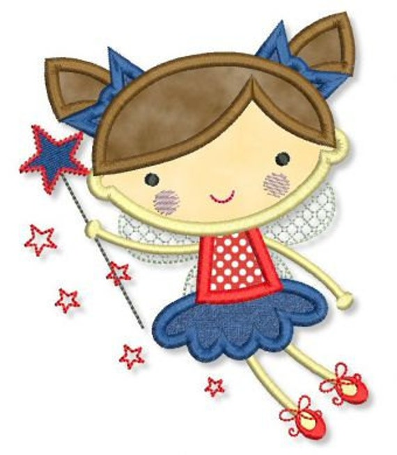 STAR FAIRY Applique 4x4 5x7 6x10 Machine Embroidery Design whimsical patriotic  INSTANT Download