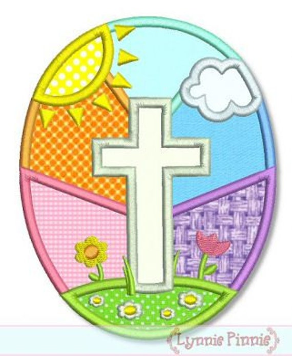 EASTER Egg with CROSS Applique 4x4 5x7 6x10 bunny Jesus Easter Eggs Jesus