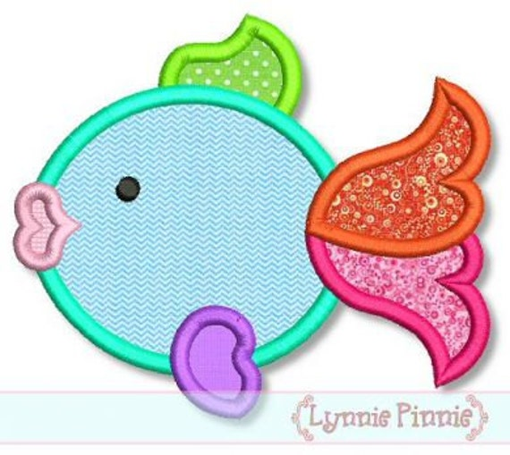 COLORFUL FISH Applique  4x4 5x7 6x10  Machine Embroidery Design ocean beach  INSTANT Download
