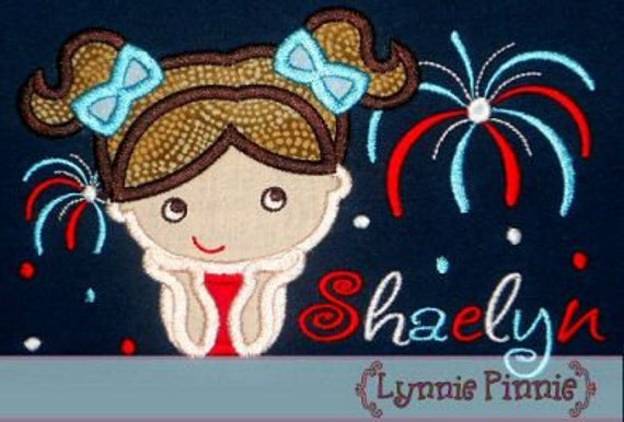 WATCHING FIREWORKS Applique Girl  4x4 5x7 6x10 Machine Embroidery Design July 4th usa patriotic independence   INSTANT Download