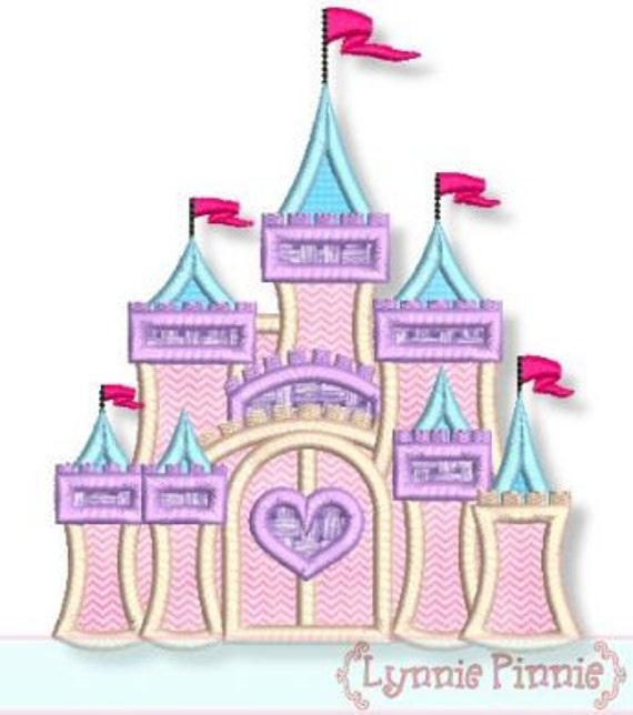 FANCY CASTLE Applique  4x4 5x7 6x10 7x11  Machine Embroidery Design girly princess  INSTANT Download