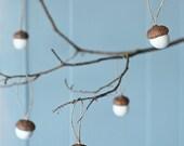 Custom listing for lizzyanne4 - Felted White Acorn Ornaments