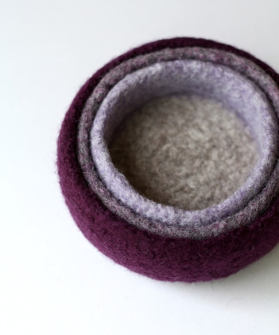 Fading Violet - set of three felted nesting bowls