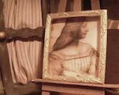 Miniature Framed Leonardo da Vinci Portrait