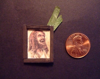 Miniature Framed Laughing Jesus with Palm Frond