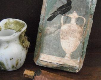 Miniature Roman Raven Fresco