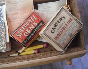 Miniature Vintage Office Supplies---Ink and Pens