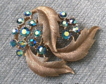 Vintage 3 leaves and Blue Flower Cluster AB Rhinestone French Paste Brooch Pin - Lots of Bling