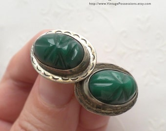Sterling Silver and Green Onyx Carved Masks - Signed Screw Back Earrings - Vintage Mexico