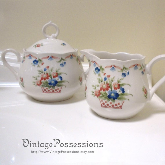 Nikko Provincial Designs - Vintage Cream and Sugar Set - Manchester pattern - Basket of flowers - Made in Japan
